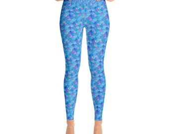 Blue Mermaid Scales Leggings