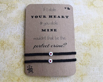 Couples Bracelet, Heart Bracelet, Adjustable Bracelet, Love Bracelet, His Hers Bracelet, Husband Wife Bracelet, Quotation Bracelet