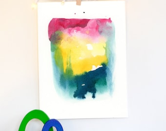 Abstract Art, Original Watercolor Painting, Landscape, Modern Art, Minimalist, Sky, Clouds, sunset, Whimsical, Bohemian