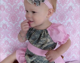 Handmade Baby Girls Light Pink US Army ACU Digital Camouflage Flower With Lace Headband