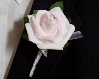 Boutonniere - Pink Rose Flower Boutonniere - Floral Boutonniere - Prom Boutonniere - Wedding Boutonniere