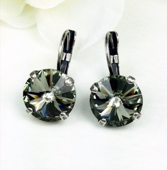 Swarovski Crystal 12MM Drop Earrings Classy & Feminine - Black Diamond - Or Choose Your Favorite Color and Finish - FREE SHIPPING