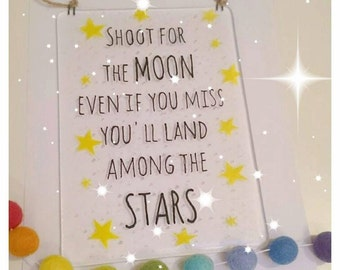 Fused Glass Plaque - Shoot for the Moon