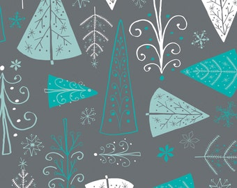 Winter Wonderland - Trees Iron Grey by Heather Rosas from Camelot Cottons