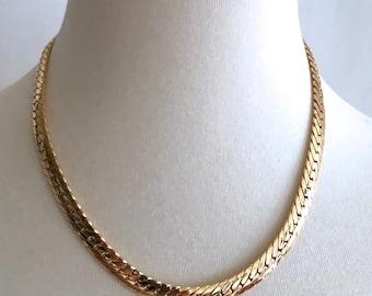 "mint gold tone yellow fat chain necklace choker 15-18"""