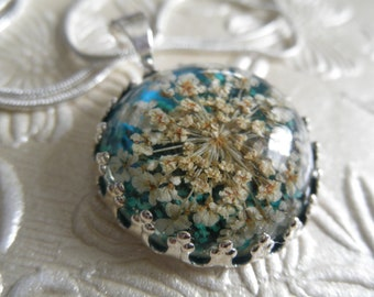 Turquoise & White Queen Anne's Lace Atop Deep Glowing Teal Background-Gifts Under 30-Real Pressed Flower Crown Pendant-Symbolizes Peace