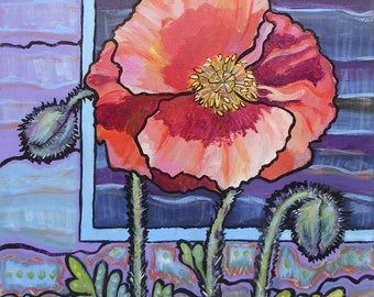 Original Acrylic Painting of an Orange Poppy, Poppies, Stylized Flower Art, Garden View, One of a Kind, Square Format, Peach Colored