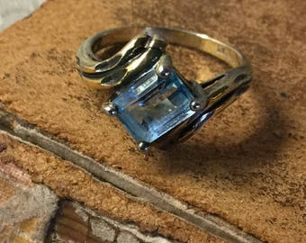 Very Pretty Emerald Cut Blue Topaz Gold Washed Sterling Ring Size 7 Signed 925 Petite Styling Double Band Open Back Feminine