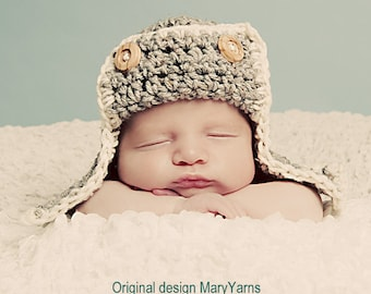 Aviator Hat Photo prop in Gray, Photography newborn Hat, Babies HAT, Flyer Hat, Bomber Hat, Pilot Hat, Gift New Baby Photo Hat Ready to Ship