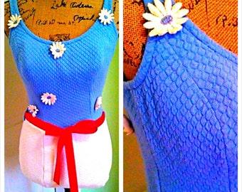 Vintage Swimsuit/ Pin up /50's 60's/ Bathing suit /Gidget//mod/ Bullet bra/ One piece/  Pool Party  /Mod  / Medium