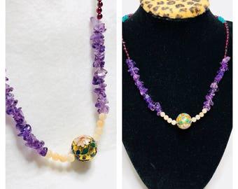 February Birthstone Amethyst Necklace, cloisonné bead, Item No. C018