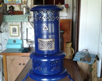 Antique Beautiful Cobalt Blue Perfection Space Heater With Working Kerosene Unit.