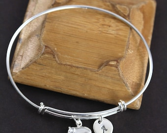 Personalized Hippo Bangle Bracelet - Hippo Jewelry 925 Sterling Silver - Hippo Gifts - Hippo Bracelet
