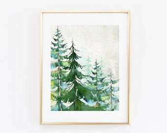 Watercolor Winter Forest Scene Evergreen Printable Art Print