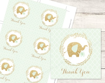 mint gold elephant baby shower favor tags printable DIY elephants favour tags mint green gold glitter cute thank you card - INSTANT DOWNLOAD