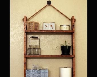 Rustic Farmhouse Bathroom Ladder Shelf