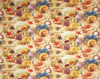Colorful Misc Shells on Sand Print Pure Cotton Fabric--By the Yard