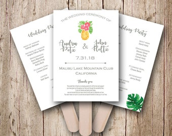 Pineapple Wedding program fans, Tropical wedding program fans Personalized wedding fans, Wedding program fans, wedding fan, fans for wedding