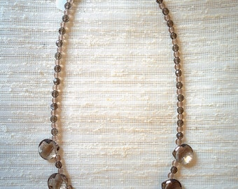 Smoky topaz droplet necklace
