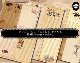 Halloween Printable - Halloween Digital Paper Pack # 2 - clipart halloween, halloween cliparts, writing journal, junk journal kit, printable