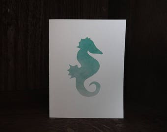 Blank Greeting Note Card with Turquoise Seahorse Design