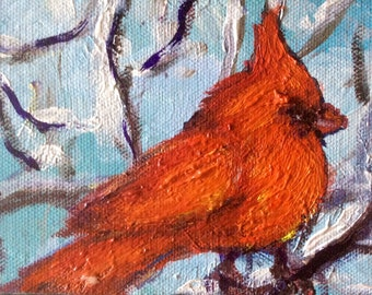 Cardinal baby  bird painting original art 4 x 6 ""