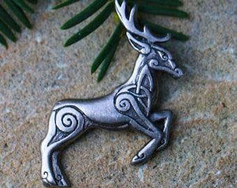 CELTIC DEER Tin Pendant Necklace Irish Scottish Herne Cernunnos Pagan Jewelry Jewellery Ireland Scotland Wales Brittany Gaul Gallia Pewter