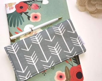 Fabric Checkbook Cover Arrows on Grey - Wallet - Receipt Holder - Gift For Mom - Birthday Gift For Her - Mother's Day Gift - Gifts Under 20