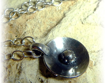 Antique Satellite Necklace - Sterling and Fine Silver Polished Disc on Cable Chain - Handmade was 46 dollars