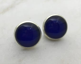 Navy glass dome stud earrings. 14mm with surgical steel and nickel free posts