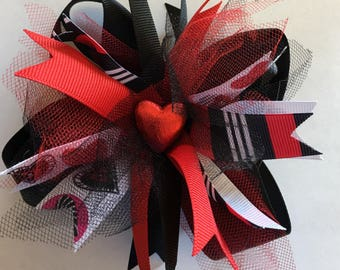 Black and Red Valentine's Day Spiked Hairbow