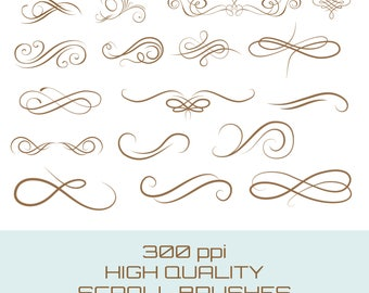 Buy 3 get one free. Pack of 17 Scroll Brushes for Photoshop, Great for Invitations, edges, banners etc, Instant Download.