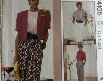 Misses Skirt Sewing Pattern - Misses Pants Sewing Pattern - McCalls 4105 - Size 10 - 12- 14