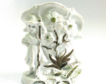 German Bisque, Fairing, Vase, Dogwood, Girl with Walking Stick, Antique