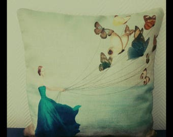 Romantic - girl with the butterflies Cervolant cushion