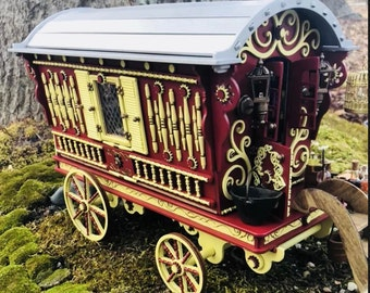 OOAK Miniature furnished Gypsy Caravan