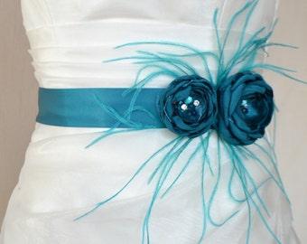 Bridal belt, Teal Bridal sash, Floral Bridal Belt, sash belt, Turquoise bridal belt, Flower wedding sash, Flower wedding dress belt