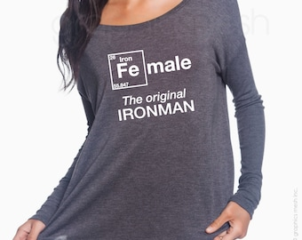 "Ladies Flowy Long-Sleeve Female ""The original IRONMAN""  For the iron-women triathlete - Ladies T-shirt"