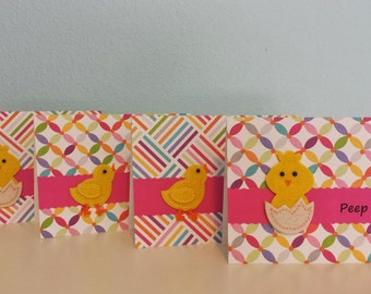 "Set Handmade Easter cards ""Peep Peep"" Chicks Tent Card"