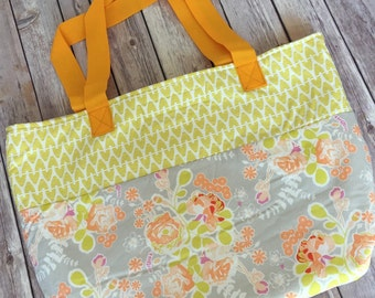 Extra Large Floral peach and yellow pretty Shabby Chic Tote Handbag with Two Inner Pockets and Nylon Straps
