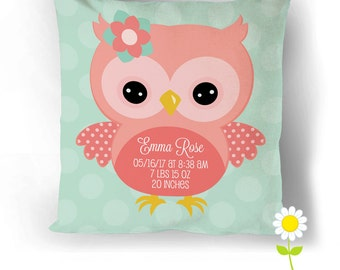 Personalized Owl Birth Stats Pillow Cover - Birth Announcement Throw Pillow w/ Baby Stats - Custom Baby Cushion - Baby Gift - Nursery Decor