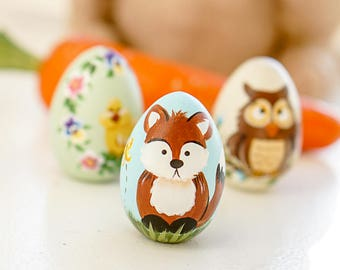 Handpainted Wood Egg, Easter Egg, Easter gift, Fox