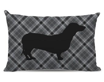 Gray Plaid Dachshund Lumbar Pillow - Dachshund Pillow - Lumbar Dachshund Silhouette Pillow - Dog Home Decor - Gray Plaid Pillow - dog pillow