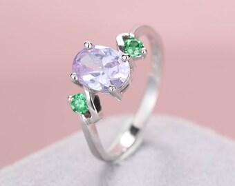 Amethyst engagement ring women wedding Emerald engagement ring Unique three stones Bridal Jewelry Alternative Birthstone Anniversary gift