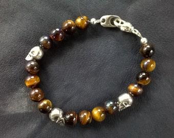Falcon-Skull Beaded Bracelet