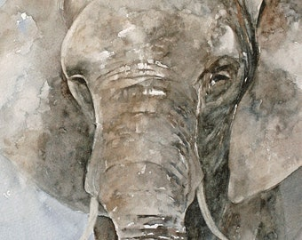 Elephant Fine Art PRINT from Watercolor Elephant Painting nursery room decor nursery art baby grey blue gray beige tan brown jungle zoo DP