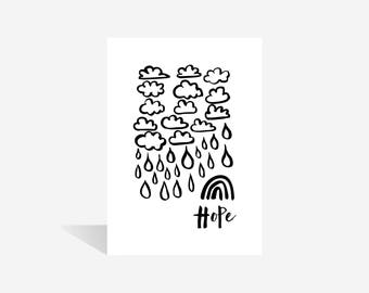Cloud | Rain | Hope | Monochrome | Wall Art | Wall Print | Faith Print