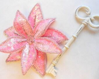 Flower Applique Beaded Sequin in Pink for Headbands or Corsage, Embellishment, Sequin Brooch (B-25)