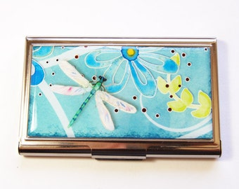 Business Card Case, Dragonfly card case, Card case, business card holder, Dragonfly, card case for her, turquoise (2936)
