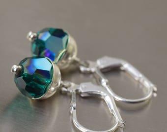 Emerald earrings May Birthstone earrings green earrings swarovski crystal earrings gifts for her